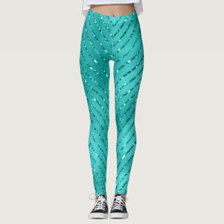 Tiffany Aquatic Blue Metallic Crystal Chevron Glas Leggings