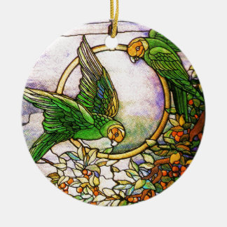 Tiffany Art Nouveau Stained Glass Parrots Ornament