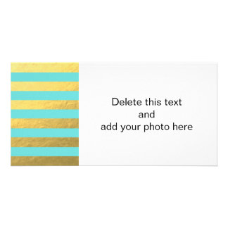 Tiffany Blue and Gold Foil Stripes Printed Customized Photo Card