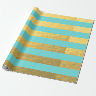 Tiffany Blue and Gold Foil Stripes Printed Wrapping Paper
