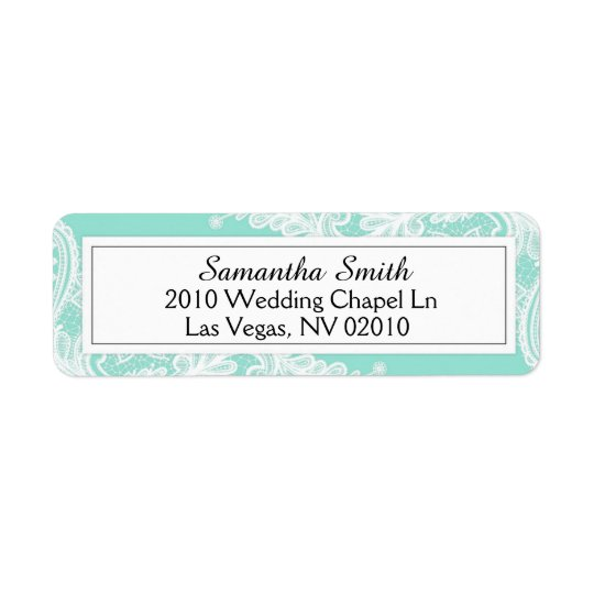 Tiffany Blue and White Lace Wedding Labels