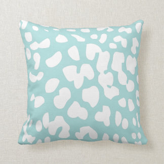 Tiffany Blue and White Leopard Print Throw Pillow