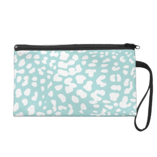 Tiffany Blue and White Leopard Print Wristlet Bag