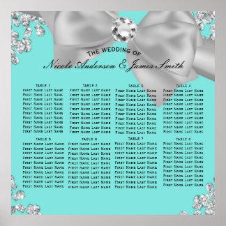 Tiffany Blue Big White Bow Diamonds Glam Seating Poster