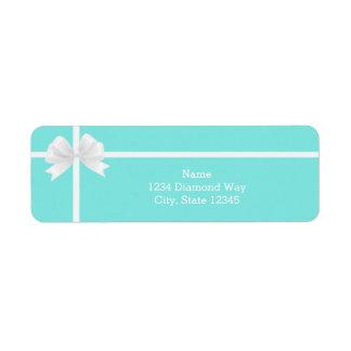 Tiffany Blue Bling Diamond Bow Box Address Labels