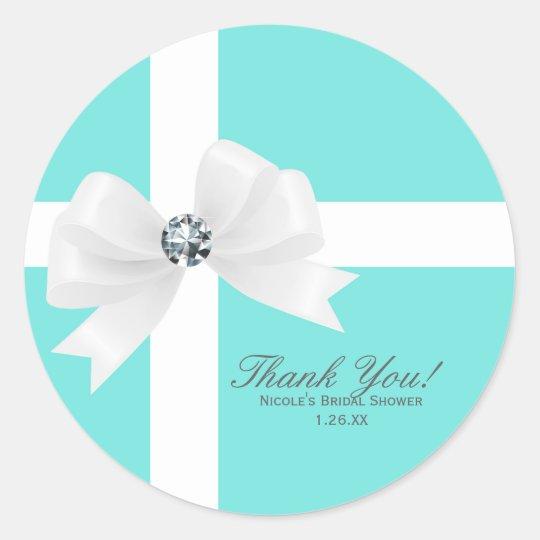 Tiffany Blue Bridal Shower White Bow Diamond Classic Round Sticker