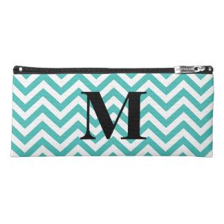 Tiffany Blue Chevron with Monogram Pencil Case