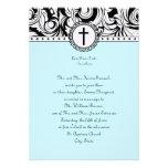 Tiffany Blue Damask Christian Wedding Invitation