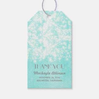 Tiffany Blue Glamour String Lights Wedding Gift Tags
