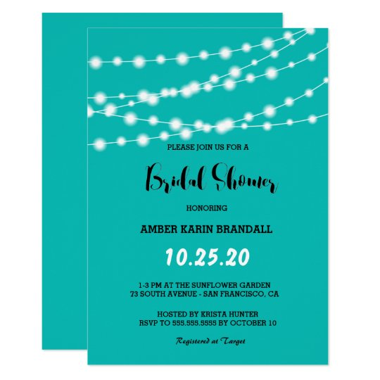 Tiffany Blue Glowing String Lights Bridal Shower Card