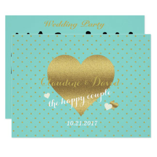 Tiffany Blue & Gold Polka Dot Wedding Program Card