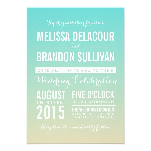 Tiffany Blue Ombre / Gradient Wedding Invitation