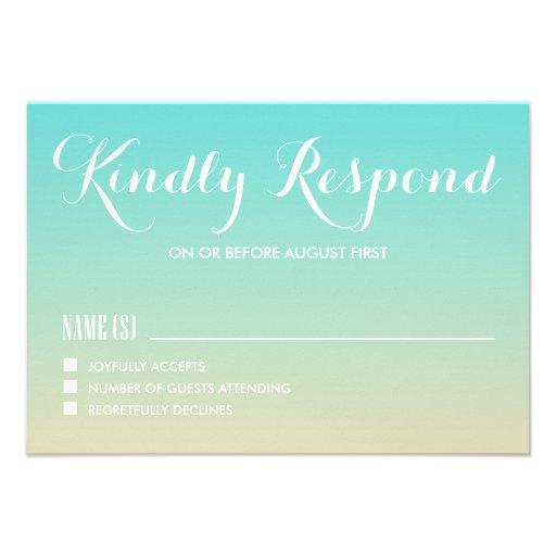 Tiffany Blue Ombre Wedding RSVP Card