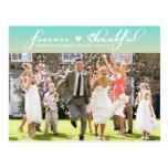 Tiffany Blue Ombre Wedding Thank You Postcard