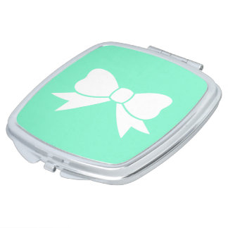 Tiffany Blue Robins Egg White Bow Compact Mirror