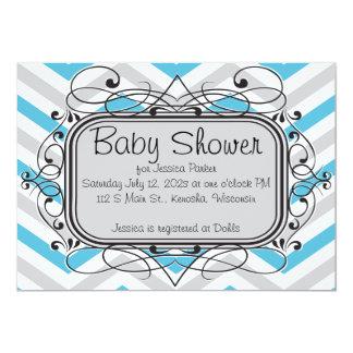 Tiffany Blue Silver Chevron Baby Shower Invitation