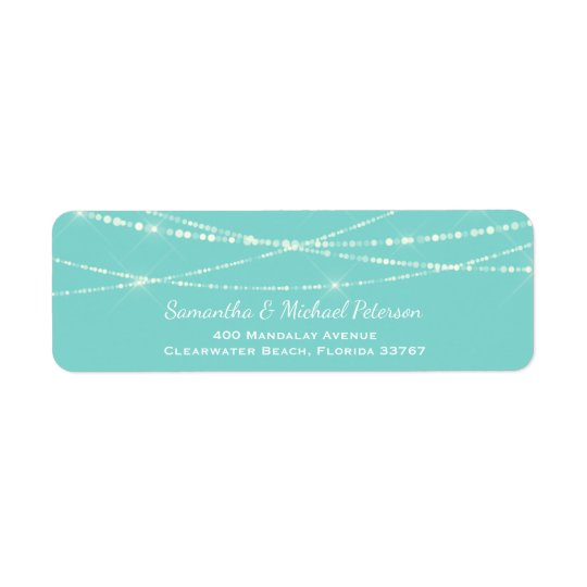 Tiffany Blue String Lights Custom Wedding Return Address Label