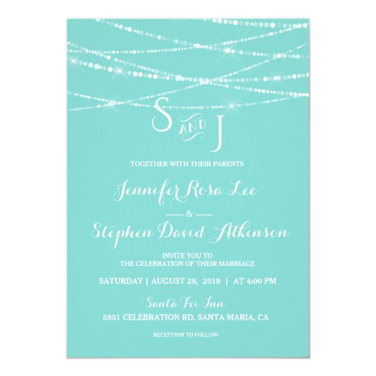 Tiffany Blue String Lights Monogram Modern Wedding Card