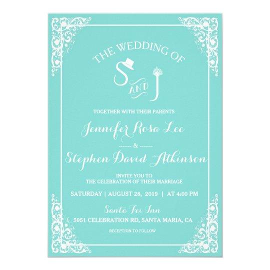 Tiffany Blue Top Hat Tiara Monogram Modern Wedding Card