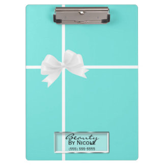 Tiffany Blue White Bow Damask Glam Personalized Clipboard