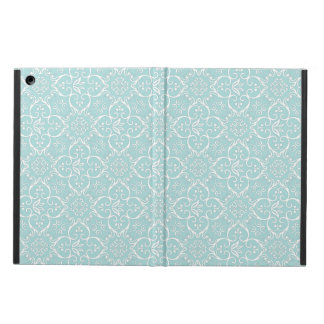 Tiffany Blue & White Damask Pattern iPad Air Cover