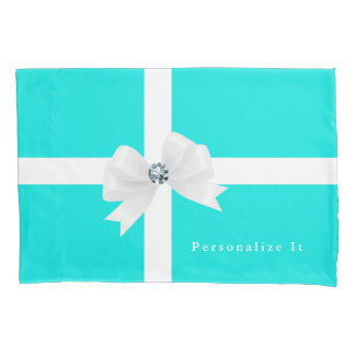 Tiffany Blue & White Elegant Glam Diamond Bow Pillowcase