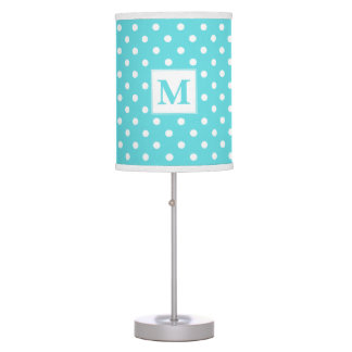 Tiffany Blue With White Polka Dots Monogrammed Table Lamp