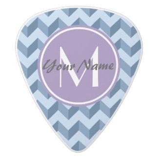 Tiffany décoré d'un monogramme et bleu marine médiator delrin blanc