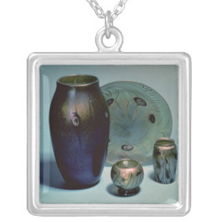 Tiffany favrile plate and vases silver plated necklace