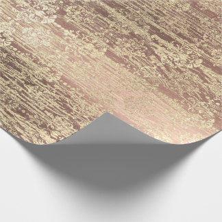 Tiffany Foxier Rose Pink Blush Damask Wood Rustic Wrapping Paper