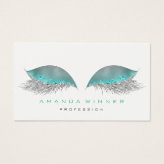 Tiffany Gray Ombre Lashes Extention Makeup Glitter Business Card