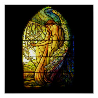 Tiffany  Guiding Angel Stain Glass Poster
