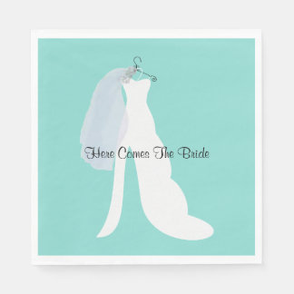 Tiffany Here Comes The Bride Party Napkins Disposable Napkins