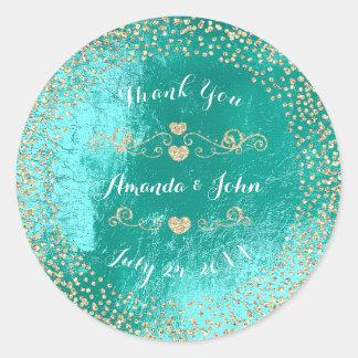 Tiffany  Metallic Glitter Save the Date Thank You Classic Round Sticker