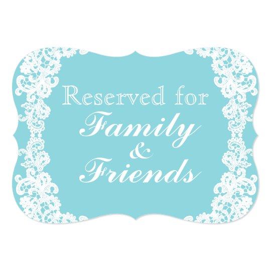 Tiffany/mint blue lace custom sign card