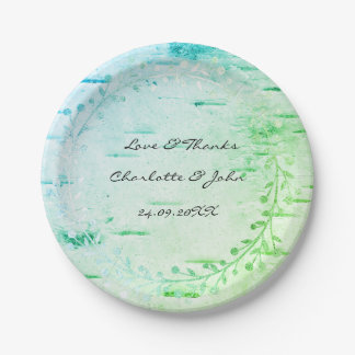 Tiffany Mint Green Cottage Birch Wreath Garland Paper Plate