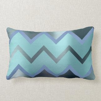 Tiffany Navy Blue Aqua Chevron Metallic Zig Zag Lumbar Pillow