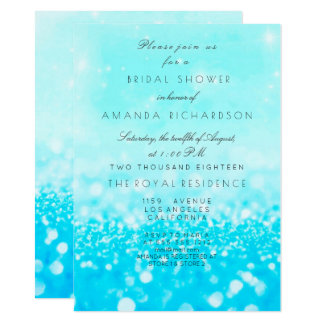 Tiffany Ocean Blue Aqua Glitter Bridal Shower Card