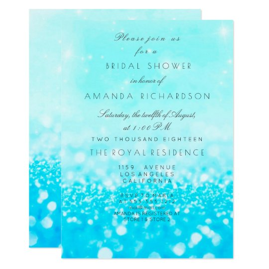Tiffany Ocean Blue Aqua Glitter Bridal Shower Card