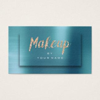 Tiffany Ocean Gold Typograph Makeup Artist 3D Business Card