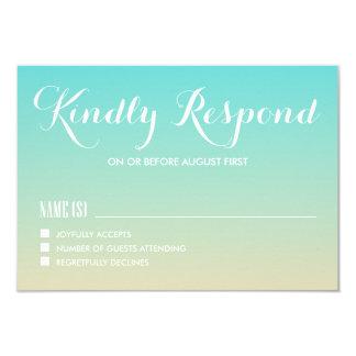 Tiffany Ombre bleu épousant la carte de RSVP Carton D'invitation 8,89 Cm X 12,70 Cm