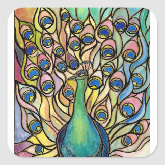 Tiffany Peacock Stained Glass style ART sticker