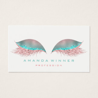 Tiffany Pink Ombre Lashes Extention Makeup Glitter Business Card