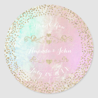 Tiffany Pink Pearly Gold Save the Date Thank You Classic Round Sticker