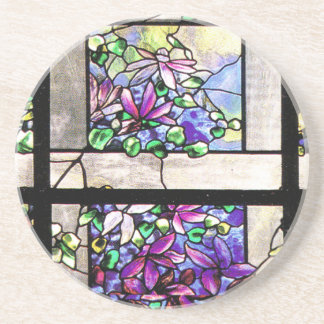 Tiffany Stained Glass Clematis Flowers Coaster
