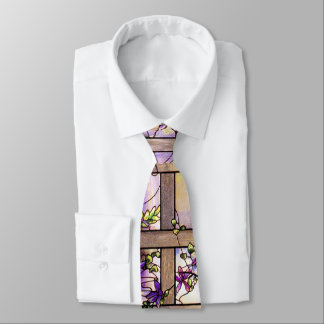 Tiffany Stained Glass Clematis Flowers Tie
