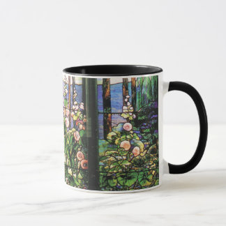 Tiffany Stained Glass Hollyhocks Mug