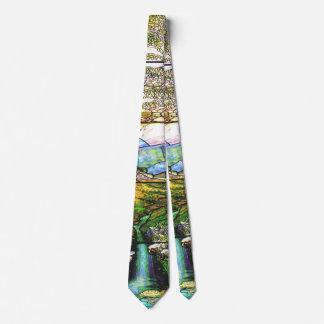 Tiffany Stained Glass Waterfall Flowers Pond Tie