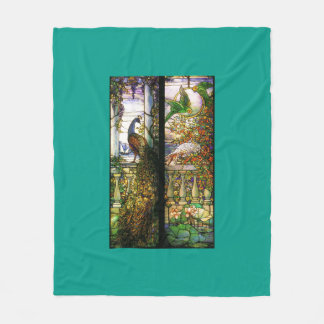 Tiffany Stained Glass Wisteria Floral Flowers Fleece Blanket