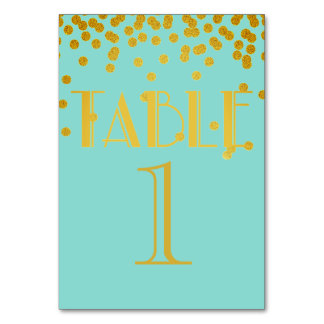 Tiffany Teal Blue And Gold Numbered Table Cards